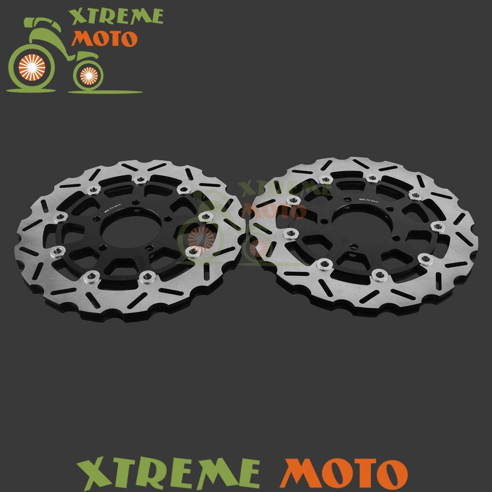 Мотоцикл передняя плавающей Тормозной диск ротора для Kawasaki ZX6RR 05 06 запросу zx6r 636 05 06 600 07-15 ER6N ER6F 650 Versys 06-15 07-14