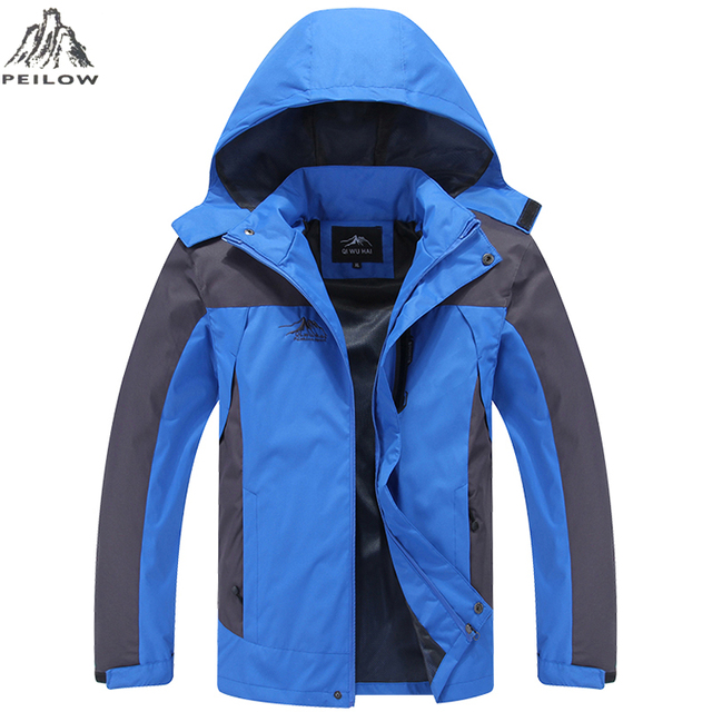 PEILOW Men's Jackets Waterproof Spring Hooded Coats Men Thin Outerwear Army Solid Casual Brand Male Tourism Mountain Clothing