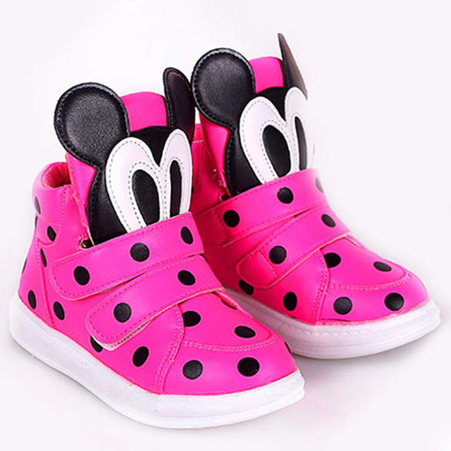 2017 Polk Dots Cartoon Toddler Girls Fashion Sneakers Hook&Loop Kids Girls Casual Shoes Baby Casual Walker Shoes