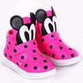 2017 polk puntos de dibujos animados de moda niño niñas zapatillas hook & loop niños chicas casual shoes bebé walker casual shoes