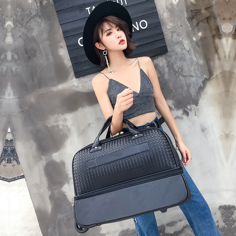Men PU Leather Trolley Bag Women Black 2 Wheels Travel Duffle Bag Medium  and Large Size Multifunction-in Travel Bags from Luggage   Bags on  Aliexpress.com ... 4a956d0a0b