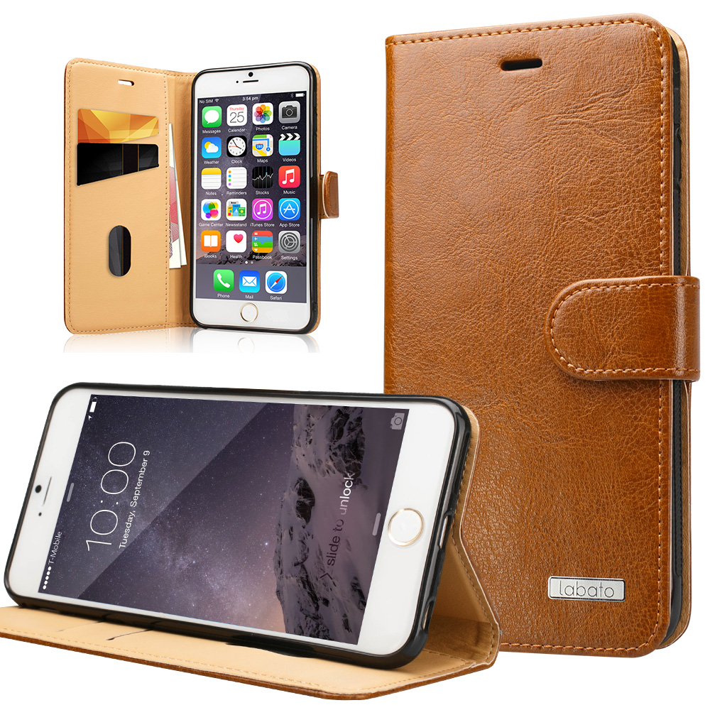 Labato Wallet Phone Cases for iPhone 6 6S Genuine Leather