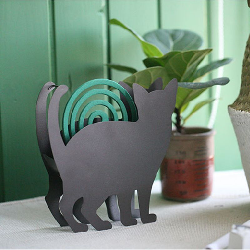 Cat Shape Mosquito Coil Rack Repellent Coils Incense Iron Stand Rack Holder Home Decor Ornaments