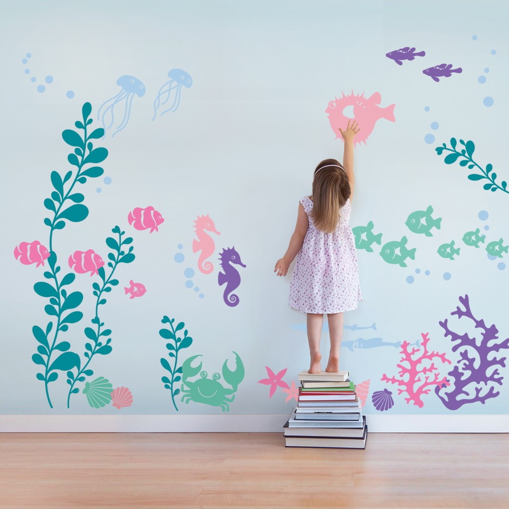 Nuder The Sea Baby Wall Decals Personalized Vinyl Wall Stickers For Kids Room Large Wall Art