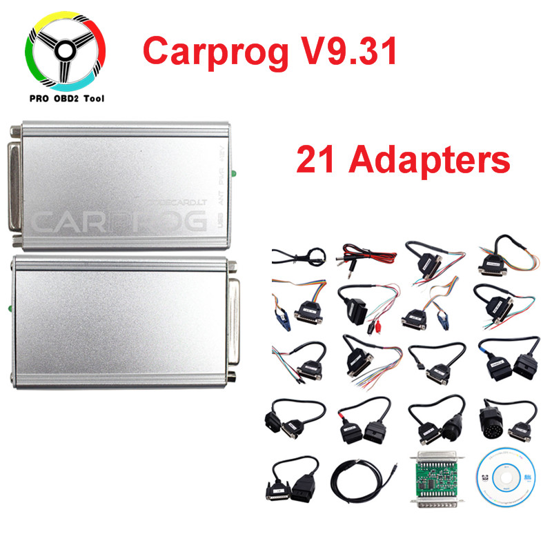 Последнюю версию v9.31 CARPROG с 21 Адаптеры для сим-карт автомобиль прог прошивки ЭКЮ программист для airbag/ECU/тире/Immo /Радио Инструменты для ремонта...