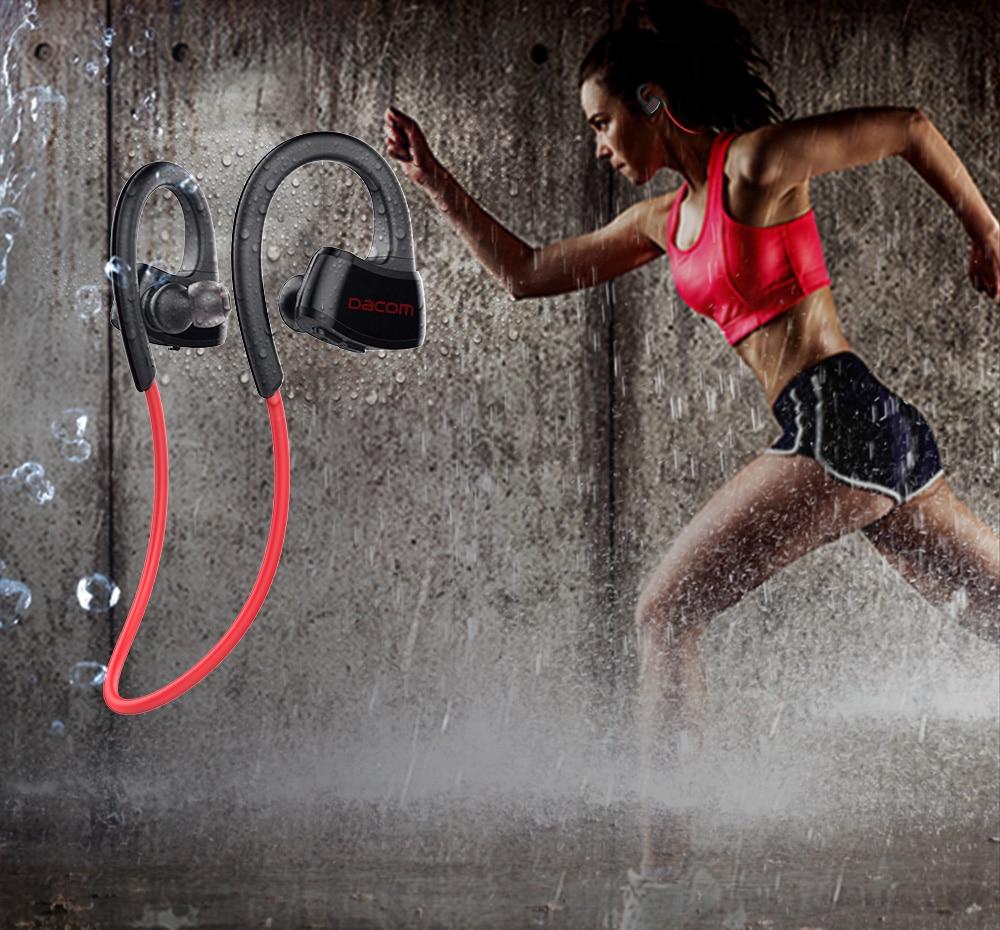 DACOM incorporado MP3 reproductor auriculares deportivos auriculares estéreo inalámbricos Bluetooth IPX7 auricular impermeable con micrófono para correr/gimnasio