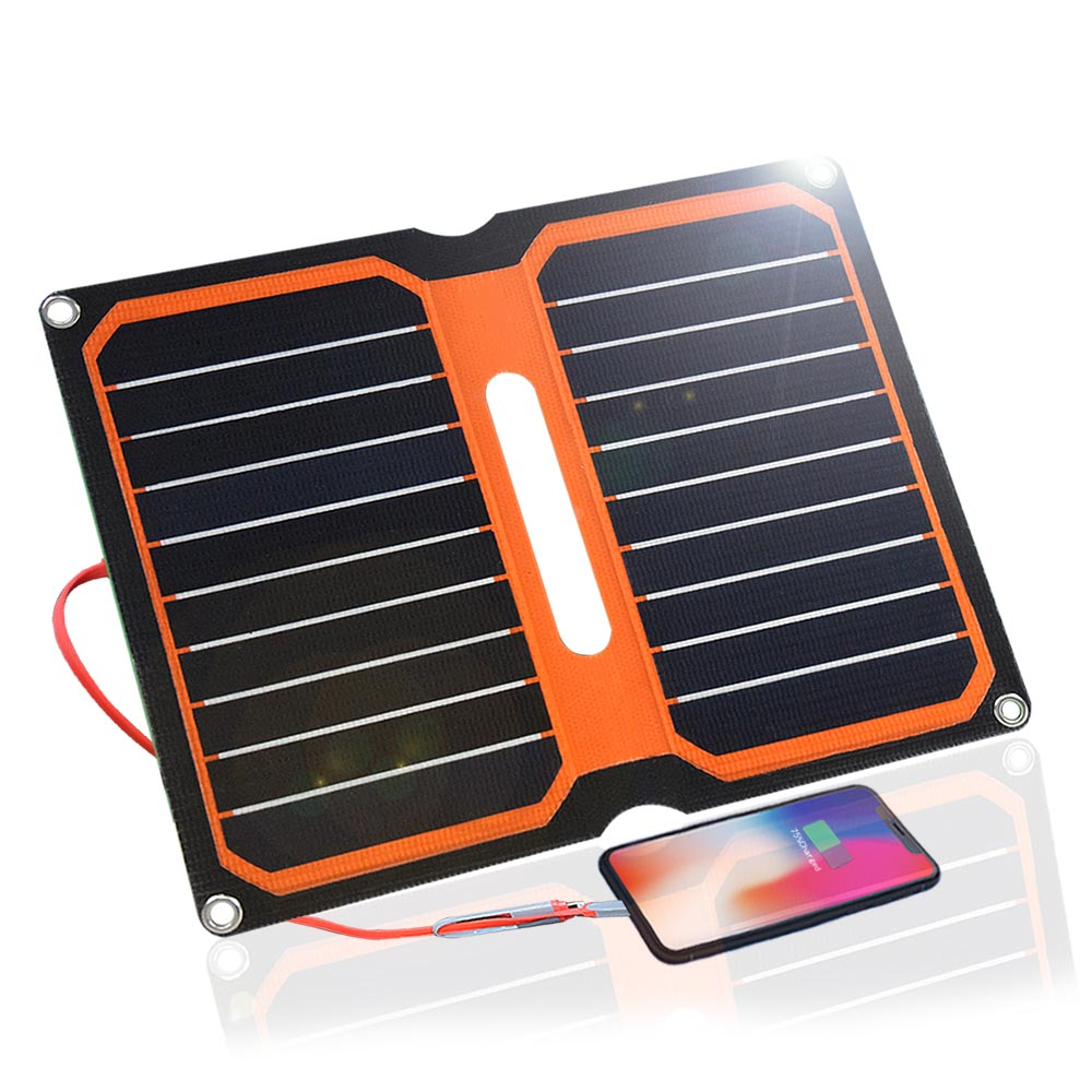 Xinpuguang ETFE Folding Portable Solar Panel 10W 5V Solar Panel Foldable Solar Charger Dual USB Output for SmartPhone Laptop-in Solar Cells from Consumer Electronics    1