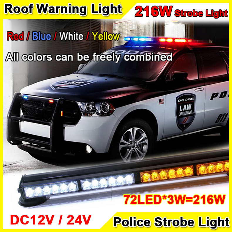 216W Super Bright Car Roof Led Strobe Lights Bar Police Emergency Warning Fireman Flash 12V 37.5 Red Blue Led Police Lights