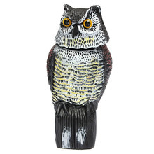 New Large Realistic Owl Decoy Rotating Head Weed Pest Control Crow Scarecrow(China)