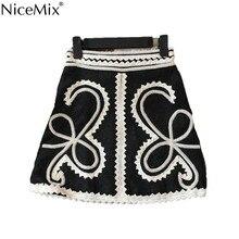 NiceMix Elegant Embroidery Office Short Skirt Women Fashion Casual Korean High Waist Black Wrap Spring Summer Bodycon Mini