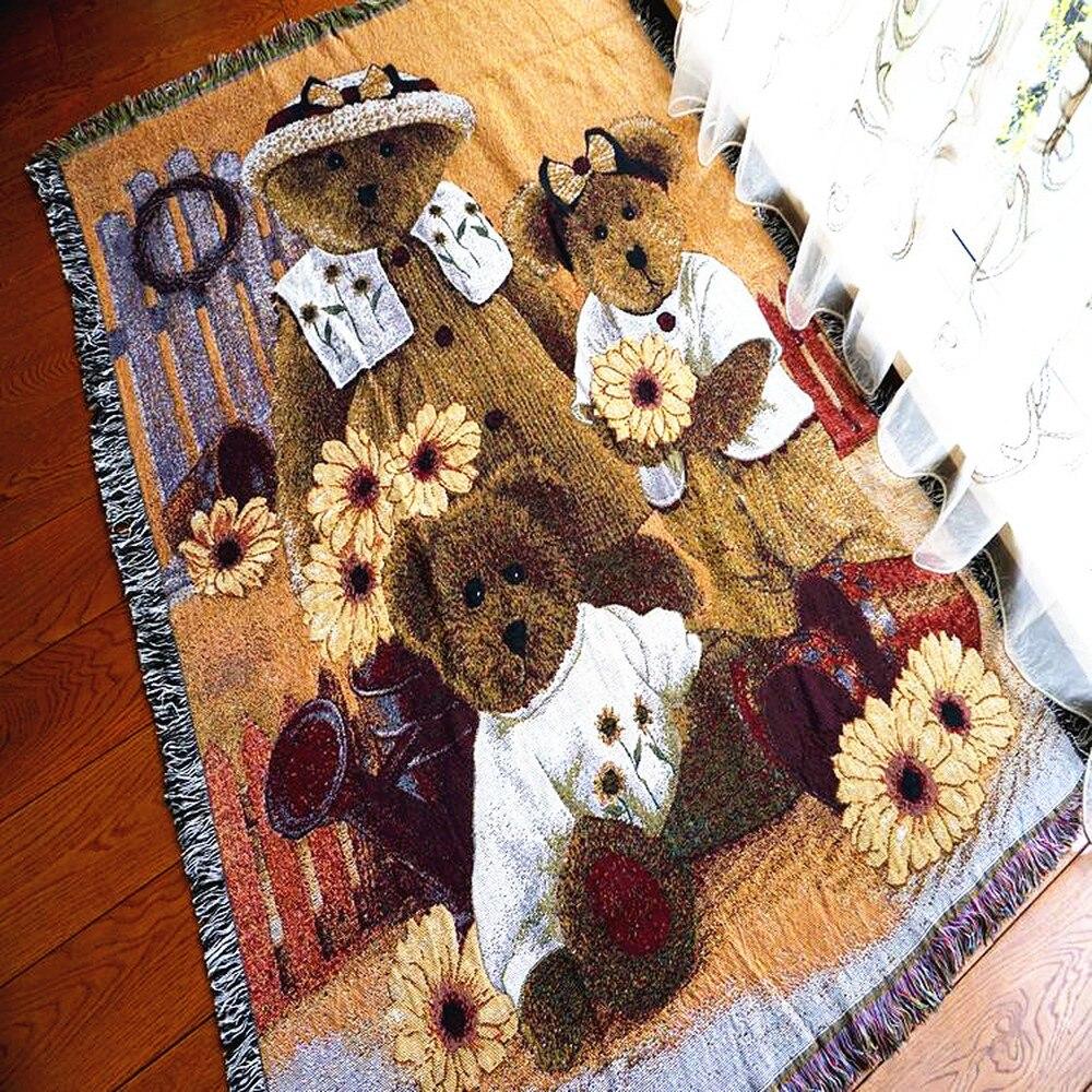 Beer Vintage Katoen Tapijt Dikke Deken Gooi Mat Sofa Handdoek Deken Bed Cover Woonkamer Slaapkamer Vilt Tapestry 130X160 CM