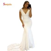 Sunzeus Mermaid Wedding Dresses Cap Sleeve Open Back