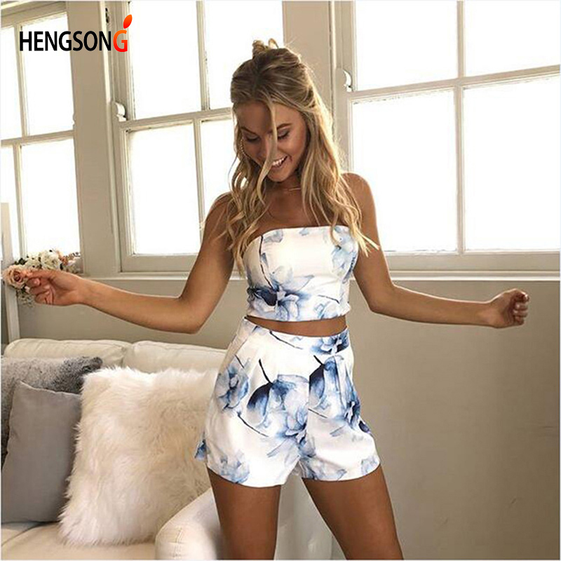 HENGSONG Women Sexy 2 Pieces Set 1PC Strapless Top Tees + 1 PC Elastic Waist Shorts Women Summer Printed Set 734176
