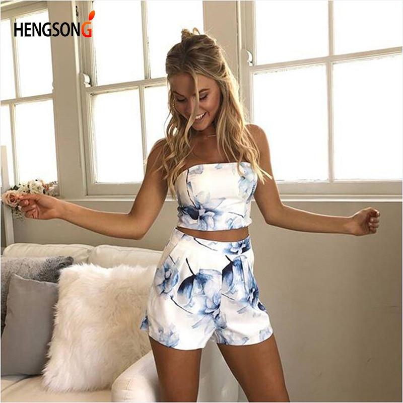 HENGSONG Women Sexy 2 Pieces Set 1PC Strapless Top Tees + 1 PC Elastic Waist Shorts Women Summer Printed Set 734176