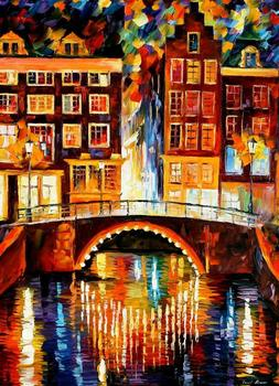 beautiful Painting Home Decor amsterdam little bridge Colorful oil paintings Canvas Modern Fine Art High quality Hand painted