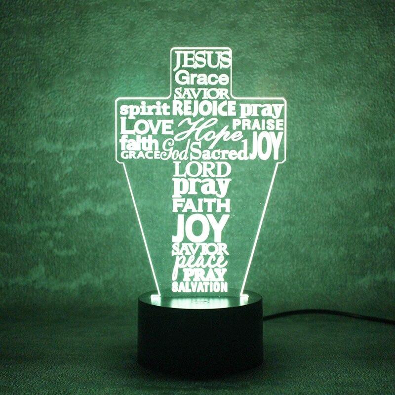 Luzes da Noite cruz letras 3d lâmpada usb Formato : Cross Letters