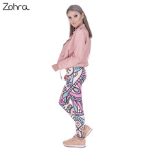 Zohra New Design Women Legins Mandala Turquoise And Pink Printing Legging Fashion High Waist Woman Leggings