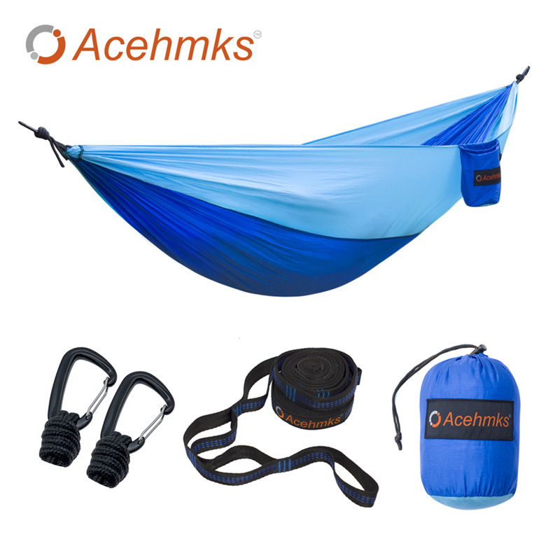 Acehmks Camping Hammock For Single-person Summer Camping Portable Light nylon Fabric Outdoor Travel Suspension Aluminum Alloy