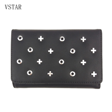 цена на Designer 2018 Tassel Three Fold Women's Wallet Card Holder Coin Purse Metal Rock Female Wallets for Lady Clutch Female Carteira
