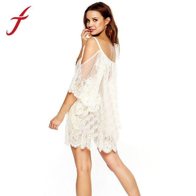 ed07a9900a5f Feitong New Summer Hippie Boho People Women Lace Crochet Hollow Dress  Bikini Cover Beach Wear White
