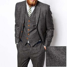Tweed Men Suit Tuxedo Wedding-Suits Vintage Winter 3piece Groom Ternos Grey Formal Men's