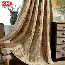 European Damask Curtains For Living Room Luxury Jacquard Blind Drapes Window Panel Fabric Curtain For Bedroom Shading 70 Custom cheap Floral Cortinas Office Hotel Hospital Cafe Home Ceiling Installation Blackout Left and Right Biparting Open Woven Cloth Curtain