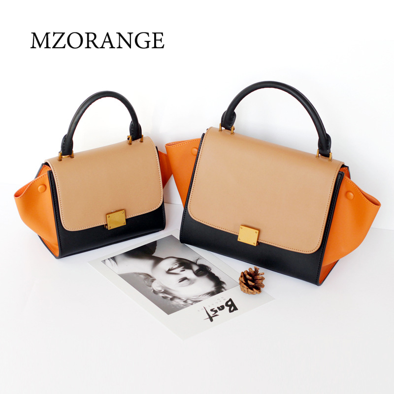MZORANGE New 2018 luxury Fashion handbag genuine leather women bags patchwork color crossbody bag design brand tote shoulder bag genuine leather women striped handbags patchwork lady shoulder crossbody bag brand design colorful stripe sling bag random color