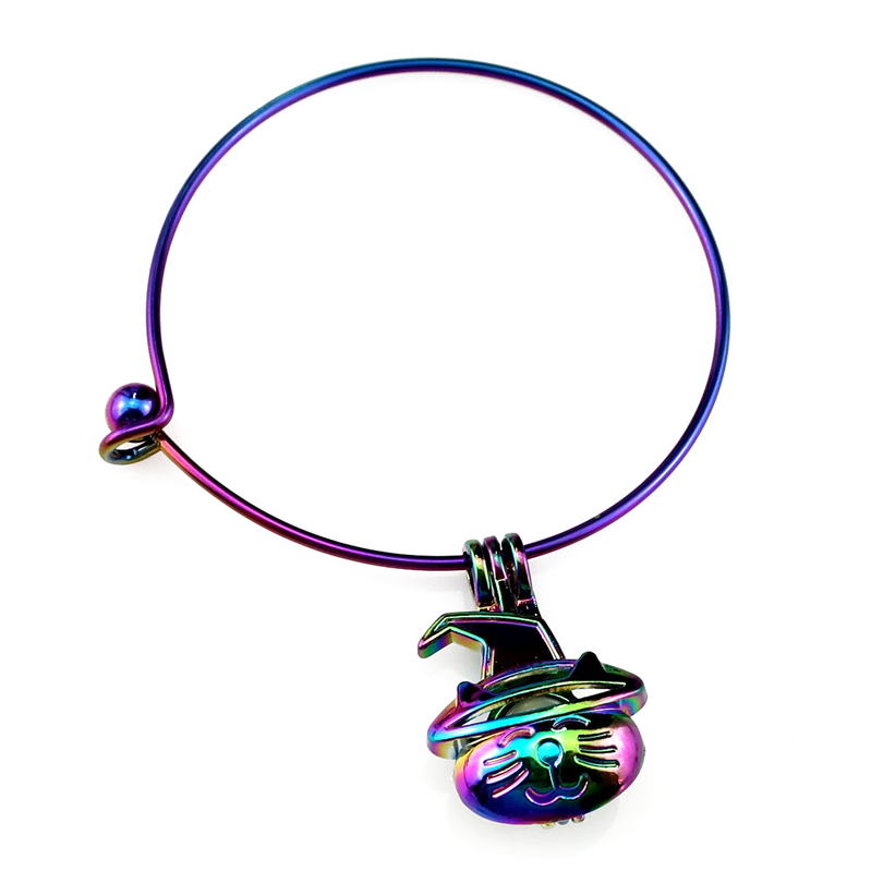 Bracelets & Bangles Jewelry & Accessories Useful Rainbow Color Bangle Bracelet Pick A Pearl Cage Dangle Halloween Cat Pumpkin Pendant B-c845 Good For Energy And The Spleen