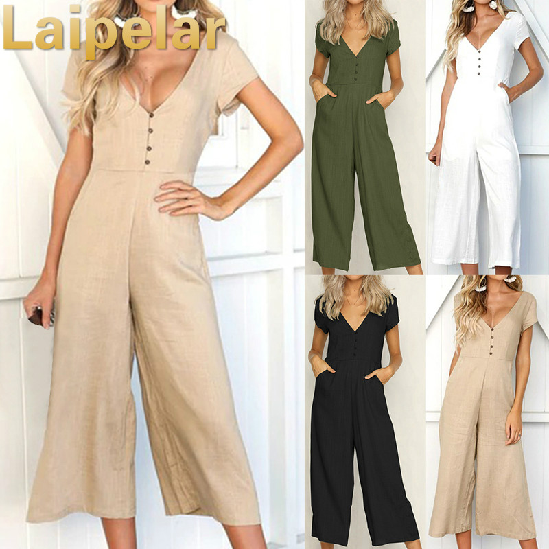 Laipelar Printed Dot Jumpsuits Women Strap Bow Waist Body Woman Bodysuits Fashion Wide LegPlaysuit Sleeveless Overalls Sexy in Jumpsuits from Women 39 s Clothing