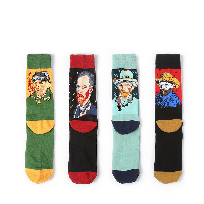 PEONFLY 4 pair/lot Combed Cotton Colorful Van Retro Oil Painting Men Socks cool casual Dress Funny party dress crew Socks