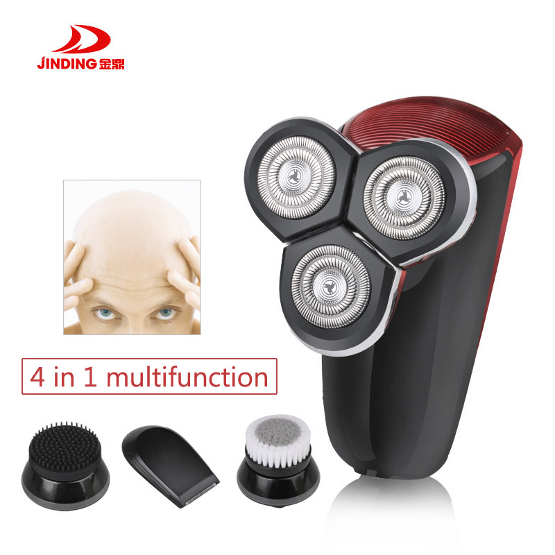 цена JINDING 4 In 1 Electric Shaver Rechargeable Men Hair Trimmer 3D Floating Design Washable Facial Cleansing Razor Shaving Machine онлайн в 2017 году
