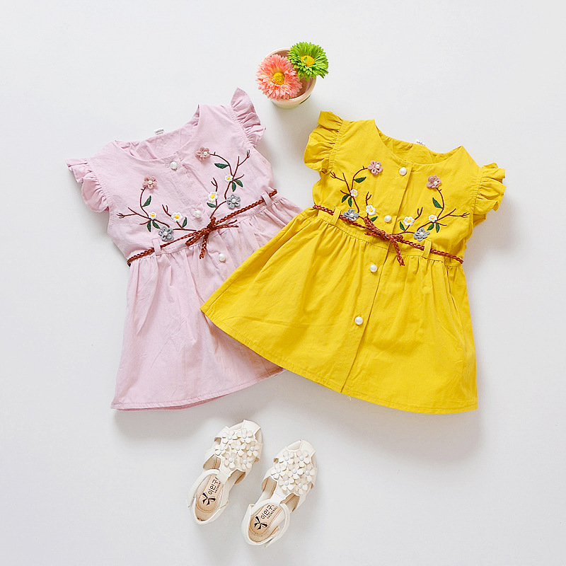New Casual Girls <font><b>Dress</b></font> <font><b>Plum</b></font> Embroidery <font><b>Dress</b></font> With Belt Children'S Knee-Length Cotton A-Line Ruffles Sleeve Princess <font><b>Dress</b></font>