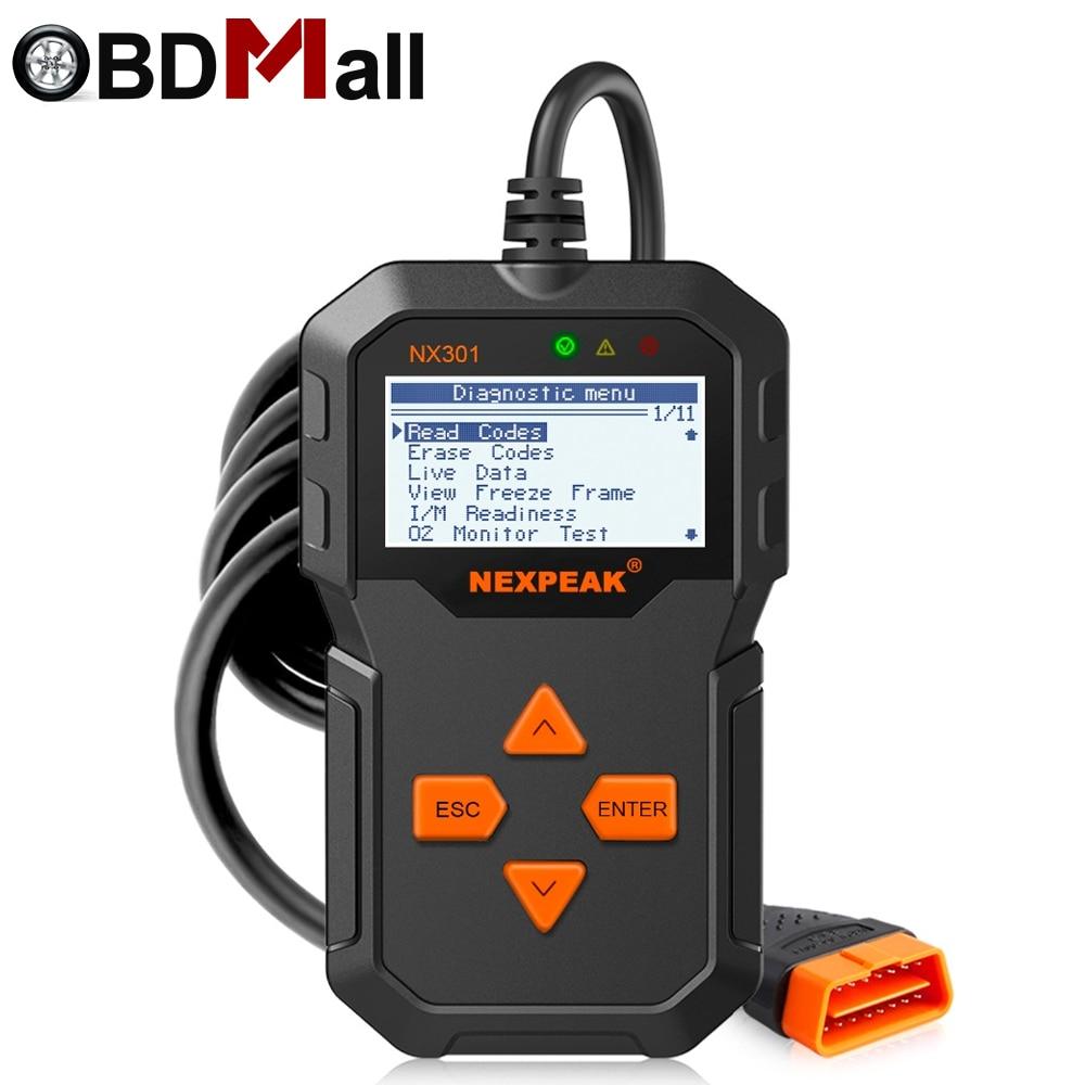 NX 301 OBD2 NEXPEAK EOBD Car Automotive Auto Scanner Leitor de Código de Motor Sensor Congelar Dados do Quadro Claro MIL OBDII Diagnóstico ferramenta