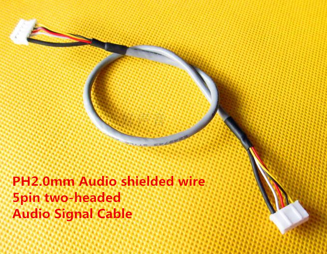 Free Ship 20PCS PH2.0mm Audio Shielded Wire 30CM 5pin Two-headed Anti-interference Audio Cable For Amplifier Audio Signal Cable