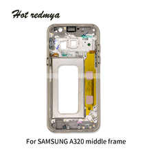 1Ps Middle Frame Bezel For Samsung Galaxy A3 A320 A5 A520 A7 A720 2017 Version Mid Chassis Housing With Power On off Side Button