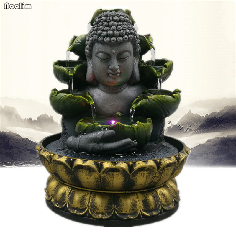 Resin Feng Shui Lucky Crafts Indoor Waterscape Auspicious Buddha Statue Flowing Water Fountain Home Office Desktop Decoration