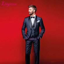 Linyixun Dark Navy Wedding Tuxedos Slim Fit Suits For Men Jacket Vest And Pants Groomsmen Suit Three Pieces Prom Formal Suits(China)