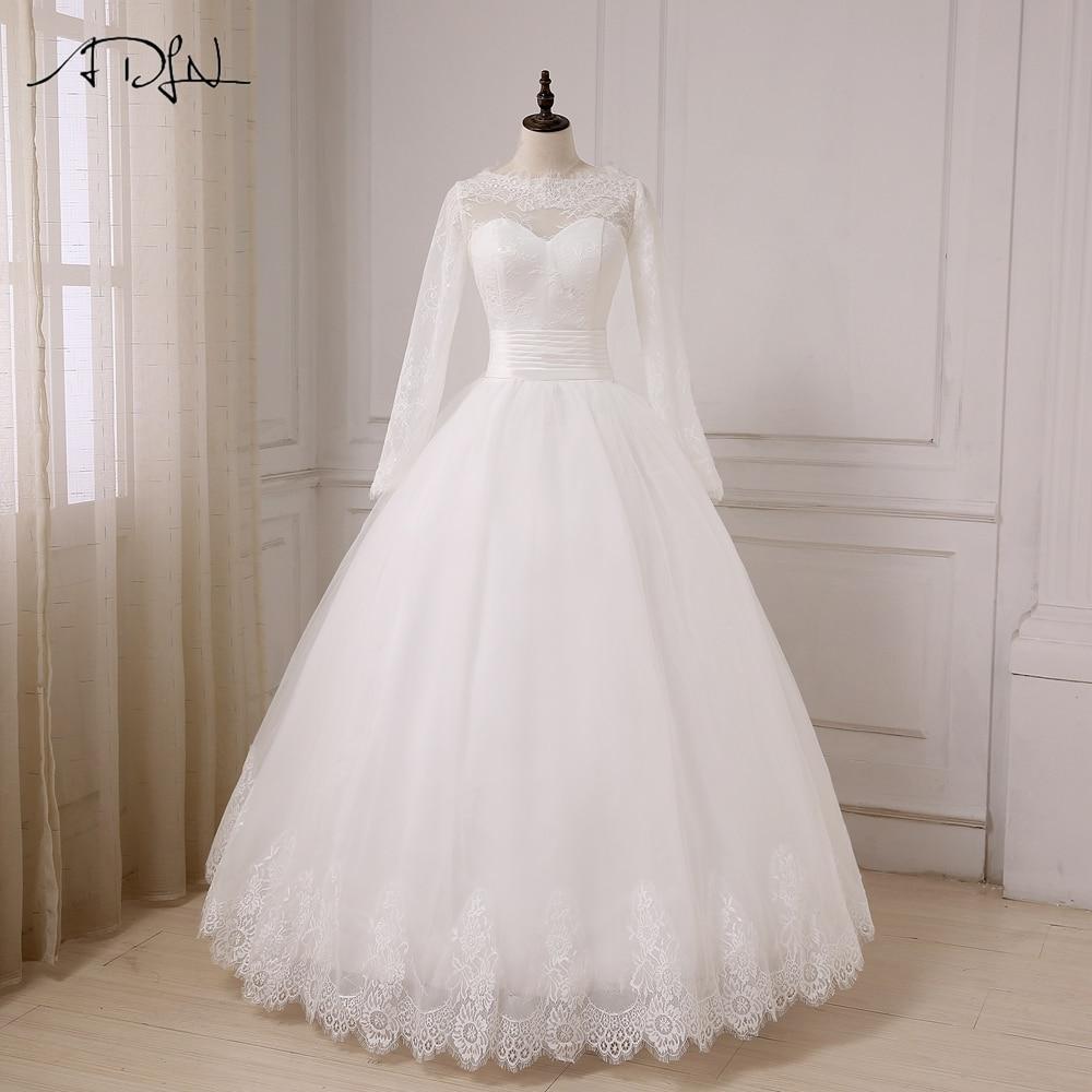 ADLN A-Line свадебное платье с длинными рукавами из тюля длиной до пола, арабские платья невесты плюс размер на заказ Vestido De Noiva