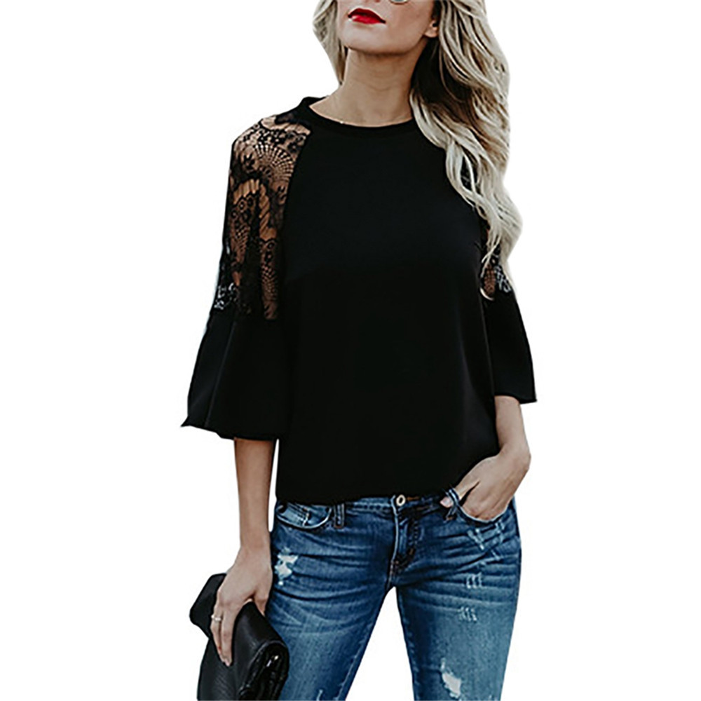 2018 Spring Summer New Lace Patchwork T shirt Women Half Flare Sleeve O Neck Casual Loose Tshirt Elegant Ladies T-shirt Tops Tee