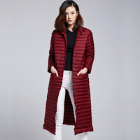 2018 New Spring Winter 90% White Duck Down Extra Long Down Jacket Women's Ultra Light Weight Brand Down Coat Female Outerwear