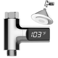 LED Display Fahrenheit Home Water Shower Thermometer Flow Self Generating Electricity Water Temperture Meter