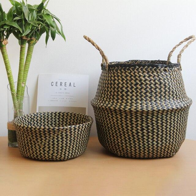 Seagrass Cesta de Vime Cesta de Vime Vaso de Flores e Plantador de Suspensão Dobrável Tecido Cesto de roupa Suja Cesta De Armazenamento Decoração Da Sua Casa