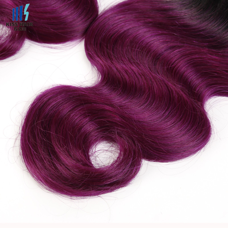 Indian Body Wave 2 Bundle T1bpurple Hair Weft Ombre Human Hair