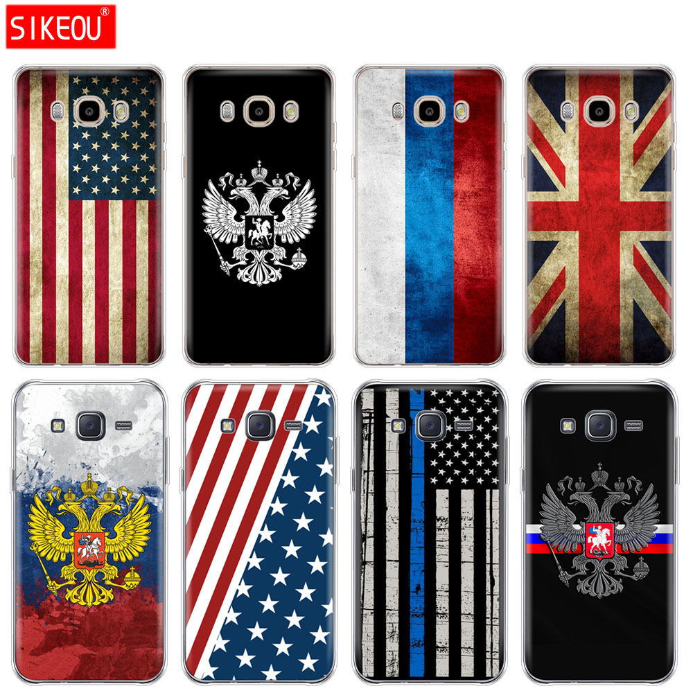 silicone cover phone case for Samsung Galaxy J1 J2 J3 J5 J7 MINI 2016 2015 prime Russian American British flag national emblem image