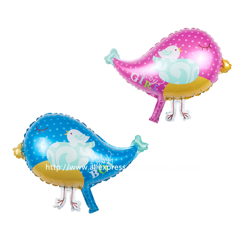 50pcs Pink And Blue Bird Foil Balloons Happy Birthday Balloon For Children's Par