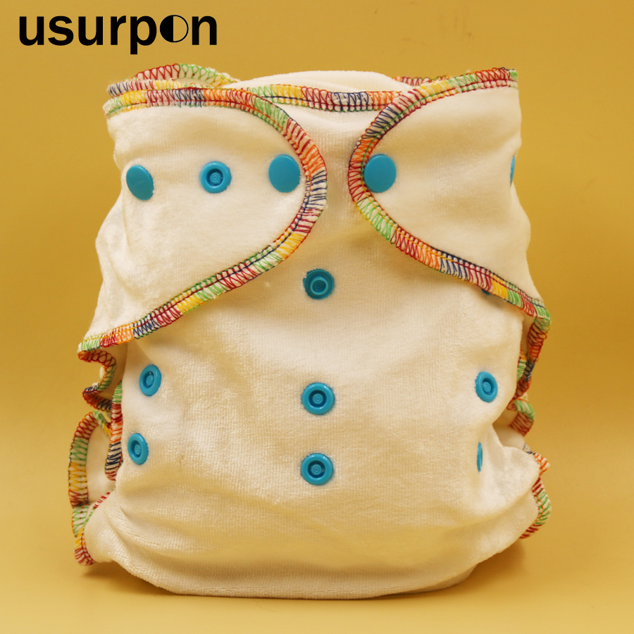 [usurpon] 1 pc Resuable bamboo cotton inner fitted cloth diapers with 2 pcs bamboo insert baby bamboo cloth diapers baby