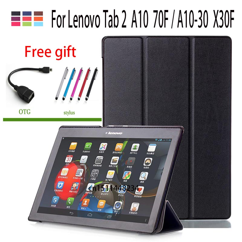 For Lenovo Tab 2 A10 70F Leather Case Cover For Tab2 A10-70/L A10-30 X30F Tablet 10.1'' Slim Smart Magnetic Auto Wake/Sleep case case for lenovo tab 4 10 plus protective cover protector leather tab 3 10 business tab 2 a10 70 a10 30 s6000 tablet pu sleeve 10