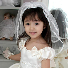 Wedding Bridal/Flower Girls Short Head Veil 2 Titers With Crown Comb Floral Headband Kids for Baptism Communion