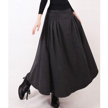 Otoño Invierno mujer Falda larga Jupe Longue Suede faldas plisadas una línea Maxi falda caqui