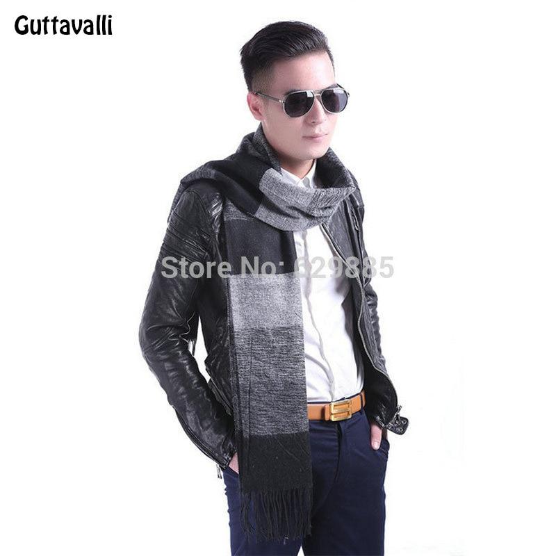 Guttavalli Nová móda Romantický muži Chevron Dlouhý šátek Zimní Akrylová Krásný Dlouhý šarm Pruhované šály Muž Plaid Zig Zag Shawl